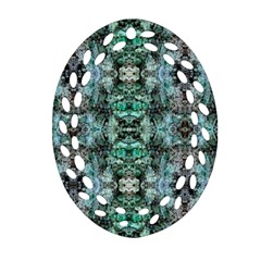 Green Black Gothic Pattern Oval Filigree Ornament (2 Side)  by Costasonlineshop