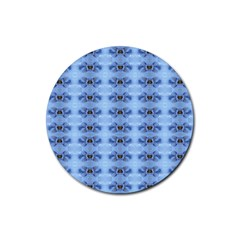 Pastel Blue Flower Pattern Rubber Round Coaster (4 Pack)  by Costasonlineshop
