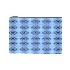 Pastel Blue Flower Pattern Cosmetic Bag (large)  by Costasonlineshop