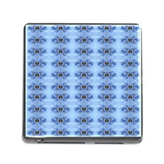 Pastel Blue Flower Pattern Memory Card Reader (square) by Costasonlineshop