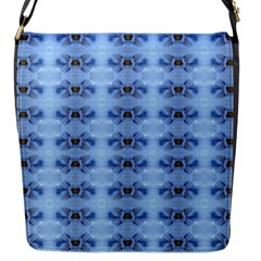 Pastel Blue Flower Pattern Flap Messenger Bag (s) by Costasonlineshop