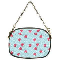 Valentine Hearts Pattern Light Blue Chain Purses (two Sides)  by ArigigiPixel