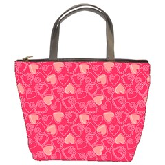 Red Pink Valentine Pattern With Coral Hearts Bucket Bags by ArigigiPixel