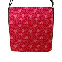 Red Pink Valentine Pattern With Coral Hearts Flap Messenger Bag (l)  by ArigigiPixel