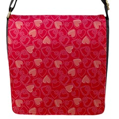 Red Pink Valentine Pattern With Coral Hearts Flap Messenger Bag (s) by ArigigiPixel