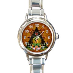 Surfing, Surfboard With Flowers And Floral Elements Round Italian Charm Watches by FantasyWorld7