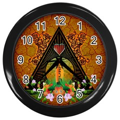 Surfing, Surfboard With Flowers And Floral Elements Wall Clocks (black) by FantasyWorld7