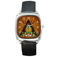 Surfing, Surfboard With Flowers And Floral Elements Square Metal Watches by FantasyWorld7