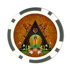Surfing, Surfboard With Flowers And Floral Elements Poker Chip Card Guards by FantasyWorld7