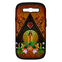 Surfing, Surfboard With Flowers And Floral Elements Samsung Galaxy S Iii Hardshell Case (pc+silicone) by FantasyWorld7