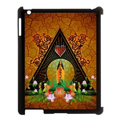 Surfing, Surfboard With Flowers And Floral Elements Apple Ipad 3/4 Case (black) by FantasyWorld7