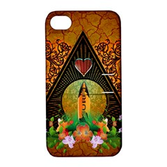 Surfing, Surfboard With Flowers And Floral Elements Apple Iphone 4/4s Hardshell Case With Stand by FantasyWorld7