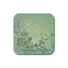 Wonderful Flowers In Soft Green Colors Rubber Square Coaster (4 Pack)  by FantasyWorld7