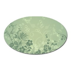 Wonderful Flowers In Soft Green Colors Oval Magnet