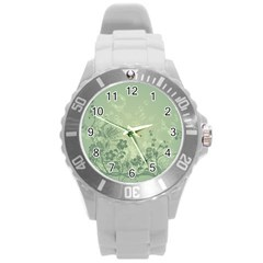 Wonderful Flowers In Soft Green Colors Round Plastic Sport Watch (l) by FantasyWorld7