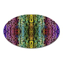 Abstract, Yellow Green, Purple, Tree Trunk Oval Magnet by Costasonlineshop