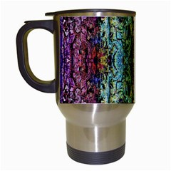 Abstract, Yellow Green, Purple, Tree Trunk Travel Mugs (white) by Costasonlineshop