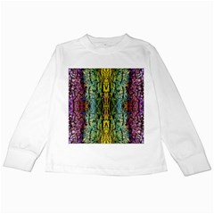 Abstract, Yellow Green, Purple, Tree Trunk Kids Long Sleeve T Shirts by Costasonlineshop