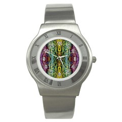 Abstract, Yellow Green, Purple, Tree Trunk Stainless Steel Watches by Costasonlineshop