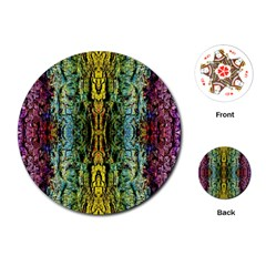 Abstract, Yellow Green, Purple, Tree Trunk Playing Cards (round)  by Costasonlineshop