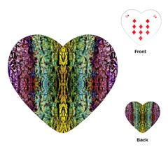 Abstract, Yellow Green, Purple, Tree Trunk Playing Cards (heart)  by Costasonlineshop