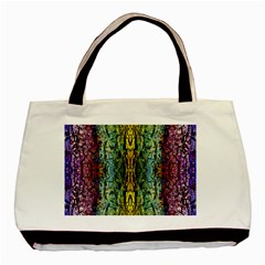 Abstract, Yellow Green, Purple, Tree Trunk Basic Tote Bag  by Costasonlineshop