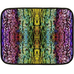 Abstract, Yellow Green, Purple, Tree Trunk Double Sided Fleece Blanket (mini)  by Costasonlineshop