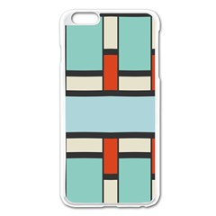 Vertical And Horizontal Rectangles			apple Iphone 6 Plus/6s Plus Enamel White Case by LalyLauraFLM
