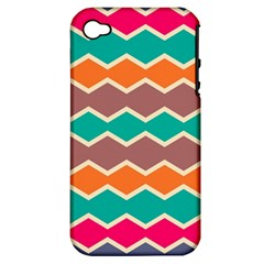Colorful Chevrons Pattern			apple Iphone 4/4s Hardshell Case (pc+silicone) by LalyLauraFLM