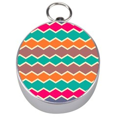 Colorful Chevrons Pattern Silver Compass by LalyLauraFLM