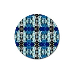 Royal Blue Abstract Pattern Magnet 3  (round) by Costasonlineshop