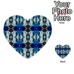 Royal Blue Abstract Pattern Multi Purpose Cards (heart)  by Costasonlineshop