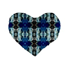 Royal Blue Abstract Pattern Standard 16  Premium Heart Shape Cushions by Costasonlineshop