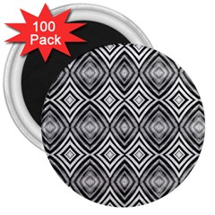 Black White Diamond Pattern 3  Magnets (100 Pack) by Costasonlineshop