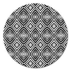 Black White Diamond Pattern Magnet 5  (round) by Costasonlineshop
