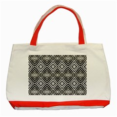 Black White Diamond Pattern Classic Tote Bag (red)
