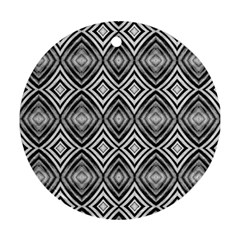 Black White Diamond Pattern Round Ornament (two Sides)  by Costasonlineshop