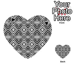 Black White Diamond Pattern Playing Cards 54 (heart)  by Costasonlineshop