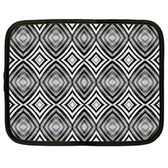 Black White Diamond Pattern Netbook Case (xl)  by Costasonlineshop