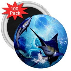Awersome Marlin In A Fantasy Underwater World 3  Magnets (100 Pack) by FantasyWorld7