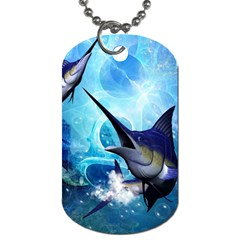 Awersome Marlin In A Fantasy Underwater World Dog Tag (two Sides) by FantasyWorld7