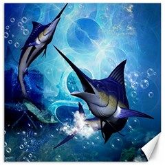 Awersome Marlin In A Fantasy Underwater World Canvas 12  X 12   by FantasyWorld7