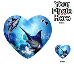 Awersome Marlin In A Fantasy Underwater World Playing Cards 54 (heart)  by FantasyWorld7