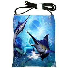 Awersome Marlin In A Fantasy Underwater World Shoulder Sling Bags by FantasyWorld7