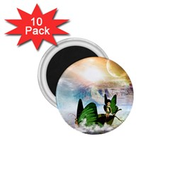 Cute Fairy In A Butterflies Boat In The Night 1 75  Magnets (10 Pack)  by FantasyWorld7