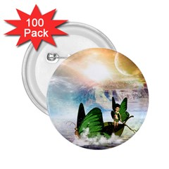 Cute Fairy In A Butterflies Boat In The Night 2 25  Buttons (100 Pack)