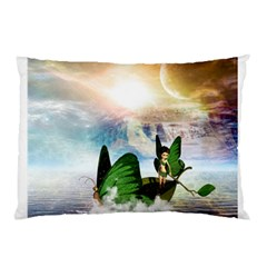Cute Fairy In A Butterflies Boat In The Night Pillow Cases (two Sides) by FantasyWorld7