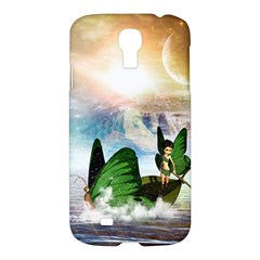 Cute Fairy In A Butterflies Boat In The Night Samsung Galaxy S4 I9500/i9505 Hardshell Case by FantasyWorld7