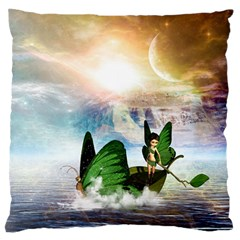 Cute Fairy In A Butterflies Boat In The Night Large Flano Cushion Cases (one Side)  by FantasyWorld7