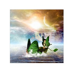 Cute Fairy In A Butterflies Boat In The Night Small Satin Scarf (square)  by FantasyWorld7